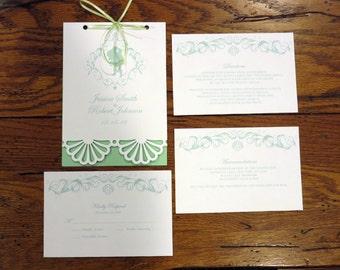"Little Mermaid Wedding Invitation Booklet 5"" by 7"""