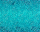Turquoise Feather Ombre Double Border - Timeless Treasures - Half Yard