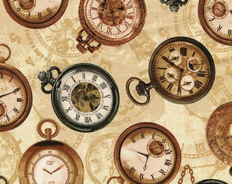 Longfellow Gold Timepiece - Windham Fabrics - Half Yard