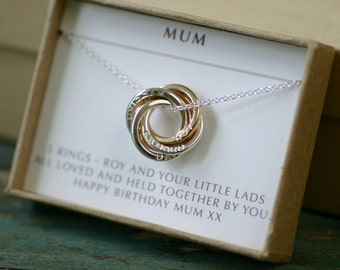Mothers Day gift, mixed metal name necklace for mom gift personalized necklace names, rose gold mother necklace, family of 5 - Lilia
