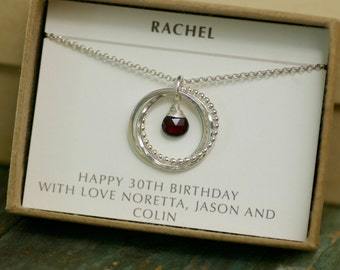 30th birthday gift for girlfriend necklace for her, garnet jewelry silver jewellery, January birthstone necklace - Lilia