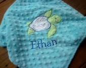 Personalized baby blanket minky- sea turtle saltwater blue, royal and light lime green lovey blanket