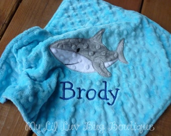 Personalized baby blanket minky- turquoise blue and electric blue shark- lovey blanket