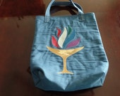 "Upcycled Unitarian Flaming Chalice Gusseted Tote Bag 13"" x 17"""