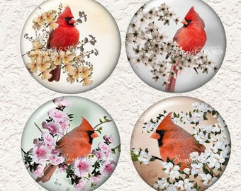 "Cardinal Coaster Set of  4 - 3.5"" in Size  Buy 3 Sets Get 1 Full Set Free  020C"