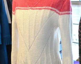 SALE Shetland wool jumper/ pink cream Shetland yarn/Lacoona Vintage style jumper/hand knitted jumper/bespoke pullover/handmade jumper/70s
