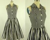 VTG Striped Shirtwaist Dress XS S 80's does 50's Expo