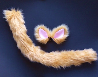 Caramel Honey Tan Cat Costume Set Ears and Tail Faux Fur Halloween Cosplay