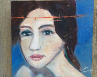 Art The Split of the Psyche,  6x6 Oil Portrait Painting  by Trish Vernazza