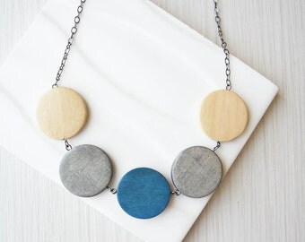 Geometric Wood Necklace - 5th Anniversary Gift, Statement Jewelry, Grey, Blue, Maple Colored, Color Block, Silver, Chunky