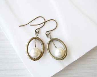 Pearl Drop Earrings, Modern Jewelry, Cream Ivory, White, Gold, Brass, Dangle, Bridal, Wedding, Contemporary, June Birthstone, Vegan