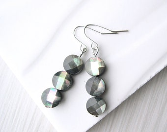 Grey Dangle Earrings, Mother of Pearl Jewelry, Faceted, Simple, Silver, Titanium, Sterling, Clip On, MOP