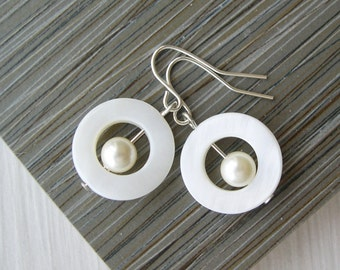 Mother of Pearl Dangle Earrings,  Ivory Wedding Jewelry, Modern Bridal, Contemporary, Cream, Drop, Sterling Silver, Clips, Clip On