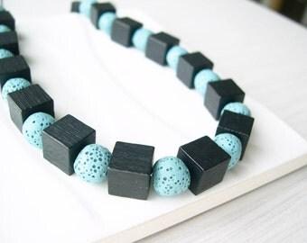 Black Wood Necklace - 5th Anniversary Gift, Long, Blue Stone Jewelry, Aqua, Cube, Boho, Lava, Modern, Statement,