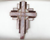 RELIGIOUS STAINED GLASS - Lavender and Purple Stained Glass Cross Suncatcher Gift for Christian, Gift for Pastor or Clergy, Gift for Parents