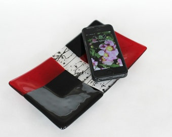 FUSED GLASS VALET - Red and Black Catchall, Cell Phone Dish, Under 30, Gift for Him, Jewelry Tray, Desk Accessory, Home Decor Tray, Valet