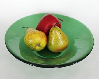 GREEN GLASS BOWL - Light Emerald Fused Glass Bowl, Under 100, Art Glass Bowl, Glass Fruit Bowl, Fused Glass Art, Wedding Gift, Birthday Gift