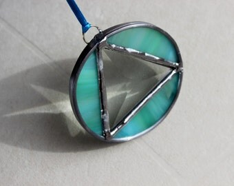 RECOVERY SUNCATCHER MINI- Lime Turquoise Triangle in Circle Sobriety Anniversary Gift, Gift for Sponsor, 12 Step Gift, Recovery Gifts, Glass