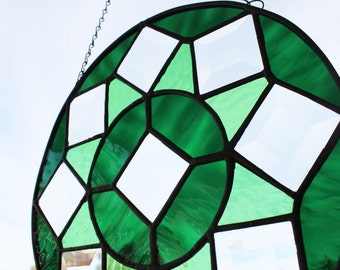 ROUND STAINED GLASS - Green Star with Bevels, Under 60, Stained Glass Mandala, Suncatcher Window Panel, Wedding Gift, Graduation Gift, Glass