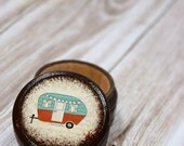 MOTHERS DAY SALE Camper Pill Box, Small Box, Vintage Camper, Teal, Wooden boxes, Tooth Fairy Box, Gift Box, Travel, Camping, Tin Camper, Tou