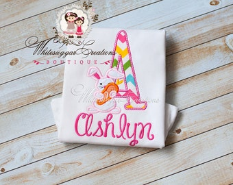 Easter Bunny Alpha Appliqued Shirt - Custom Initial with Bunny Personalized shirt - Girls Easter Shirt