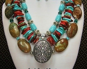 SOUTHWEST / WESTERN / ETHNIC Cowgirl Necklace Set / Southwestern Necklace / Western Statement Necklace / Howlite Turquoise Jewelry - LoMiRa