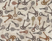 Timeless by Dan Morris for Quilting Treasures - Full or Half Yard Clock Keys on Grey Mottled Background
