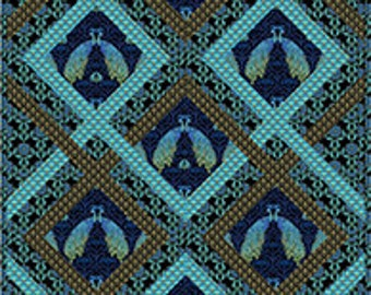 "Peacock Quilt Kit - Proud Peacocks by Tailor Made Designs - 64"" x 94"" Quilt Kit - Elegant Peacocks in Metallic Gold and Blues"