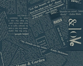 Story by Carrie Bloomston for Windham Fabrics - Full or Half Yard Newspaper in Indigo Newsprint Collage