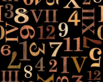 Timeless by Dan Morris for Quilting Treasures - Full or Half Yard Roman Numerals and Clock Numbers on Black - Antiqued Numbers