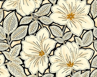 Maya from Quilting Treasures - Full or Half Yard Cream Topaz Floral - Black Gold Cream Flowers and Leaves