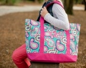 Paisley Tote Bag with Pink Trim - FREE Personalization