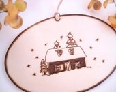 Rustic House Ornament, First Christmas, New Home Ornament, Rustic Christmas, Wood Christmas Ornament, Personalized, Little cabin in the snow