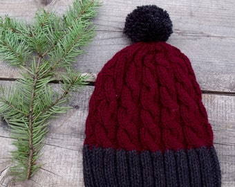 Slouchy Hat, Cable Knit Hat, Knit Hat, Women's Hat, Slouchy Beanie, Cable Knit Beanie, Two-Tone Hat, Pom Pom Hat, Hat with Pom Pom