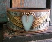 Winged heart leather cuff bracelet - Love Has Wings - Angel wings, bohemian boho jewelry, country cowgirl, sky blue artisan soldered jewelry