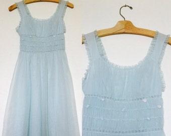 ON SALE Vintage Gotham / Gold Stripe / Powder Blue / Chiffon / Babydoll / Nightgown / Small