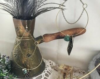 Dangle Bronze Horseshoe Hoops with Heart Stamp