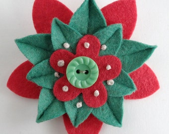 Retro Christmas Felt Flower Pin - Red and Green Poinsettia with Vintage Green Button and French Knots