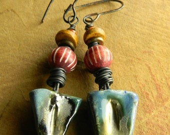 Tribal Jewelry Earrings Blue Ceramic Colorful Red Yellow Rustic