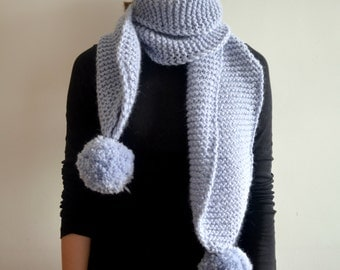 READY TO SHIP The Pom. Large Oversized Super Chunky Alpaca Wool Scarf with Pompoms. Ice Blue