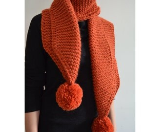 The Pom. Large Oversized Super Chunky Alpaca Wool Scarf with Pompoms. Burnt Orange. Brick Orange