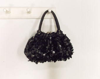 Vintage Black Sequin Covered Evening Bag---1980's Spectacular Paillette and Bead Covered Purse