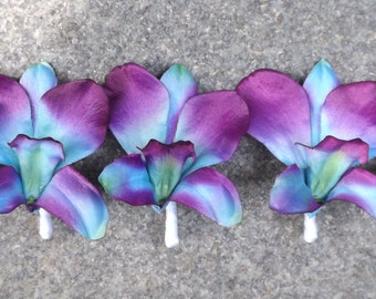 Blue galaxy orchid boutonniere, choose your orchid