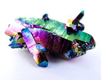 Titanium Rainbow DT double terminated  Aura quartz Crystal Arkansas Quartz #59