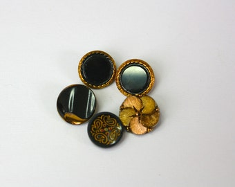 Vintage 40s Buttons Black Glass lot of 5 w Gold Luster Button Lot