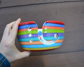Rainbow Stripes and Polka Dots Large Ceramic Yarn Bowl for Knitters or Crocheters - Bright Red Rim