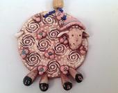 Decorative wall tile/sheep/lambs/wall tile/clay tile/handmade tile/wall hanging/barnyard art