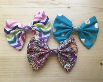Hair bow pack of 3 blue chevron floral
