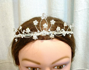 Antique Bridal Tiara, 1920s Headpiece Rhinestone Headband Gatsby Downton Abbey Vintage Wedding Flapper Crown, Crystal Wedding Head Band