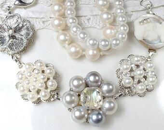 OOAK Gray Pearl,Rhinestone & Crystal Bridal Bracelet,Silver Grey Vintage Cluster Earring Bridesmaid Bracelet,Wedding Gift Old Hollywood Glam